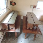 LOT # 24: On the left:4' X 8' table and two rustic 8' benches.  LOT # 25: On the right:4' X 8' table and two rustic 7' benches.
