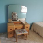 "LOT # 13: Blonde bedroom set  All pieces sold together as set only 19"" X 48"" X 26"" vanity (plus mirror and bench)"