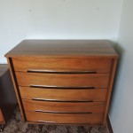 "Lot # 7: Good quality, good condition five drawer dresser. Drawers are dovetailed front and back.  18"" X 38"" X 43""  Matches lot # 8 (you can bid Lot # 7 and Lot #8 separately or ""together only"")."
