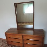 "LOT # 8: Good quality, good condition six drawer dresser. Drawers are dovetailed front and back.  18"" X 54"" X 30"" with 28"" X 40"" mirror. Matches lot # 7 (you can bid Lot # 8 and Lot #7 separately or ""together only"")."
