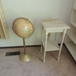 "Lot # 7: Rustic plant stand 14"" X 14"" X 29"" tall and world globe on a stand."