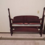 Lot # 13: Vintage double bed frame.  Nice quality but many small surface scratches (needs Formby's).