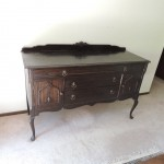 "Lot # 23: Vintage buffet, 22"" X 60"" X 36""  Solid wood, not dovetailed."