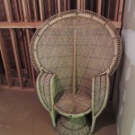 "Lot # 44: Huge wicker ""Peacock"" chair.  62"" tall X 42"" wide!  Minor damage to trim, examine image closely."